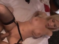 Sexy gal in stockings makes a butt call