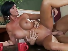 Who ca resist a milf like this? Milfy good looker Shay Fox with perfect giant milk shakes is fuck hungry. Topless Shay Fox gets face drilled on her knees before deep pussy penetration.