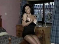 Sexy striptease from the lusty old babe in pantyhose