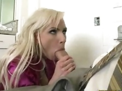 Golden-haired milf Alexa B opening up her hot mouth and filling it with jock