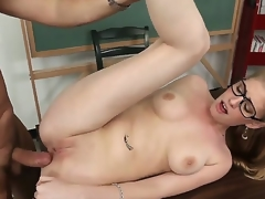 Alec Knight shows nice sex tricks to Blonde chick Allie James with the assist of his rock hard meat pole