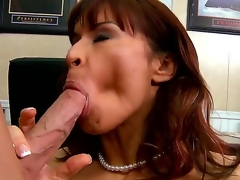 Seductive brunette hair pornstar Devon Michaels receives enticed by the Johnny Sins. This prepossessing milf with a big and tasty milk shakes receives kissed and starts to sucks her partners cock.