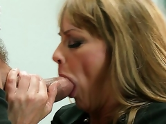 This hawt golden-haired milf Shayla Leveaux missed the young throbbing cock so much that when she gets it into the mouth she starts working it up like a real smutty bitch