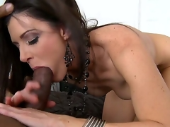 The licentious brunette milf India Summer likes anything big and that babe couldnt pass by this darksome monster cock and pleasingly took it so deeply right in the face hole