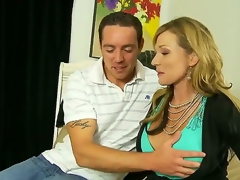 Mature/MILF and hot Nicole Wright is the best stepmother ever. This blonde honey is stunning as that babe lets her stepson rub her big juicy tits. This babe then gets his cock out and gives him a great blowjob in advance of that babe gives him a great tit fuck.