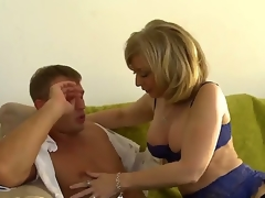 MILF Nina Hartley milks this boy, Bill Bailey dry. This hot mature woman with great large tits looks fantastic in her hot underware as this babe goes down on this youthful mans youthful cock and suck him until he cums with her experienced mouth.