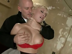 Sadistic dominant pornstar Mark Davis likes to play and have fun with provocative golden-haired Jagger Jordan with huge knockers in red lingerie in rough throat fucking slavery action