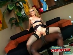 Milf Nina Hartley rides black penis in sexy underware