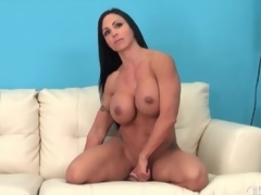 Fit milf sits her hot muff on a sex toy
