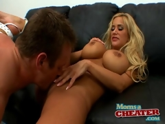Blond mom gives a titjob and gets fucked