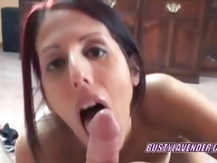 Oral job redhead Lavender Rayne swallowing a dong