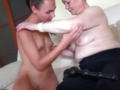 OldNanny Good juvenile woman and old granny masturbated