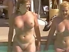 Hairy natural vaginas at pool party