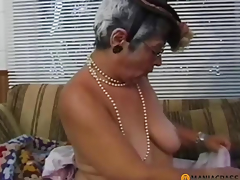 Gray-haired woman sucks jock