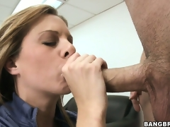 Naughty MILF receives caught masturbating on her desk and sucks the bosses cock