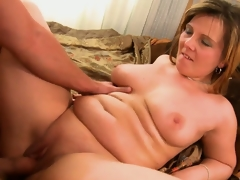 He's pounding his friend's chubby mom and nails her bald cunt