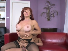 Breasty aged redhead rides her fresh son in laws inflexible boner on the couch