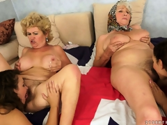 An orgy of snatch with old and young lesbians munching the rug