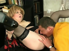 Naughty mature beauty and younger guy getting down and bawdy in various ways
