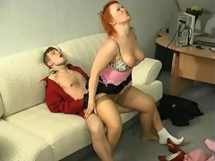 Sultry milf kneeling down to show her engulfing skills after sexy muff-diving