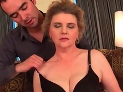 Busty grandma in stockings receives her hairy muff fucked