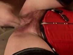 Matured brunette hair Eva gets the brush hairy vag toyed and fucked from bankrupt